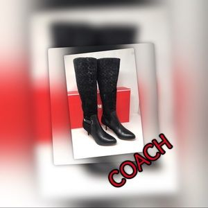 Sensational NWT Two tone Leather Coach Boots w/Box